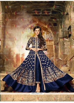 Phenomenal Georgette Blue Embroidered Work Anarkali Salwar Kameez