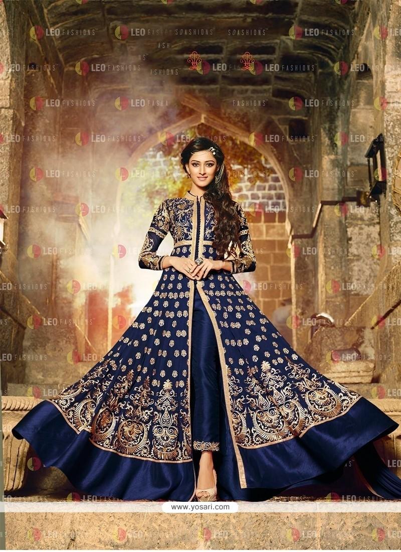 Phenomenal Georgette Blue Embroidered Work Anarkali Salwar Kameez