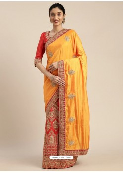 Yellow Heavy Embroidered Designer Party Wear Sari