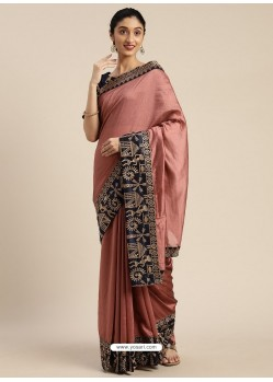 Old Rose Heavy Embroidered Designer Party Wear Sari