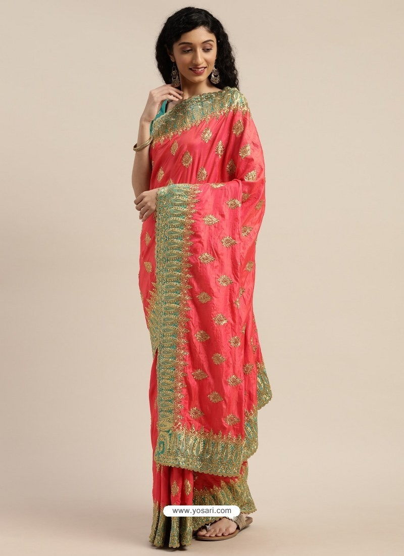 Dark Peach Heavy Embroidered Designer Party Wear Sari