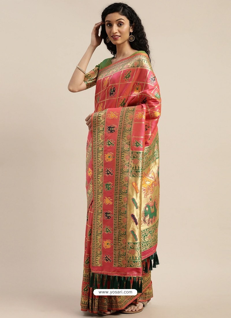 Light Red Heavy Embroidered Designer Party Wear Sari