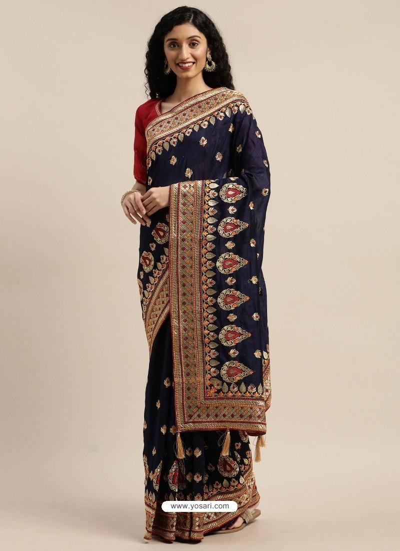 Navy Blue Heavy Embroidered Designer Party Wear Sari