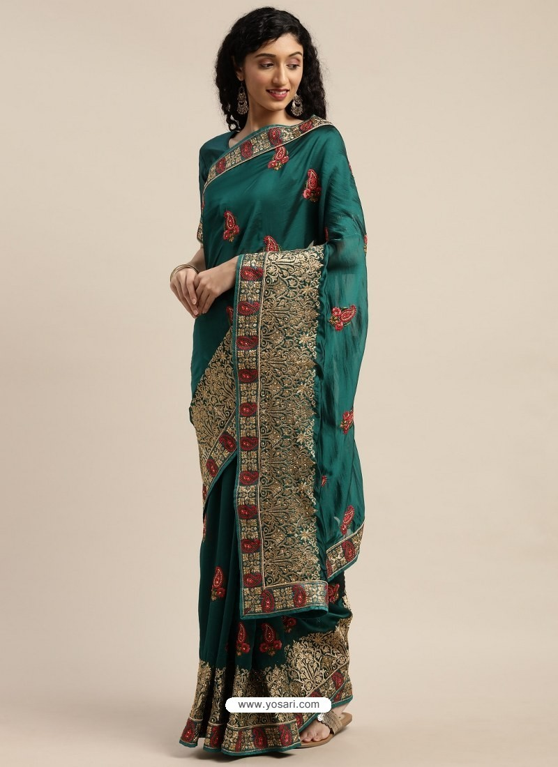 Teal Heavy Embroidered Designer Party Wear Sari