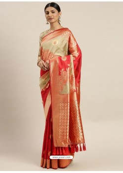 Red Heavy Embroidered Designer Party Wear Sari