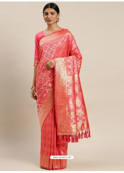 Peach Heavy Embroidered Designer Party Wear Sari