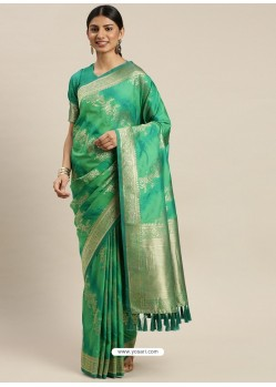 Jade Green Heavy Embroidered Designer Party Wear Sari