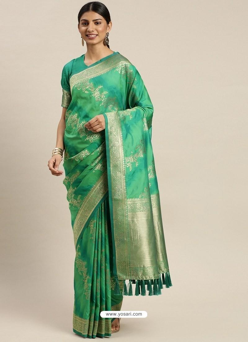 Jade Green Heavy Embroidered Designer Party Wear Sari