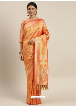 Orange Heavy Embroidered Designer Party Wear Sari