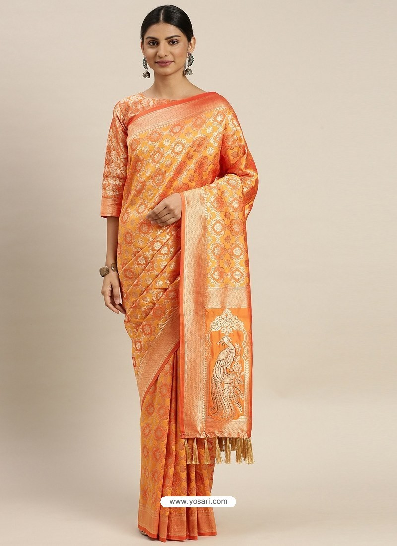 Orange Heavy Embroidered Designer Party Wear Sari