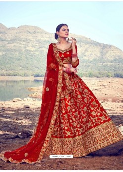 Red Heavy Designer Wedding Wear Satin Silk Lehenga Choli