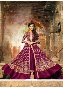 Conspicuous Embroidered Work Wine Anarkali Salwar Kameez