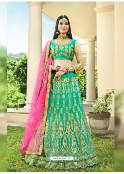 Jade Green Heavy Designer Wedding Wear Silk Lehenga Choli