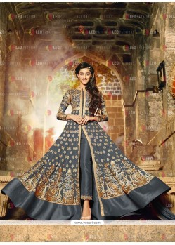 Subtle Embroidered Work Georgette Grey Anarkali Salwar Kameez
