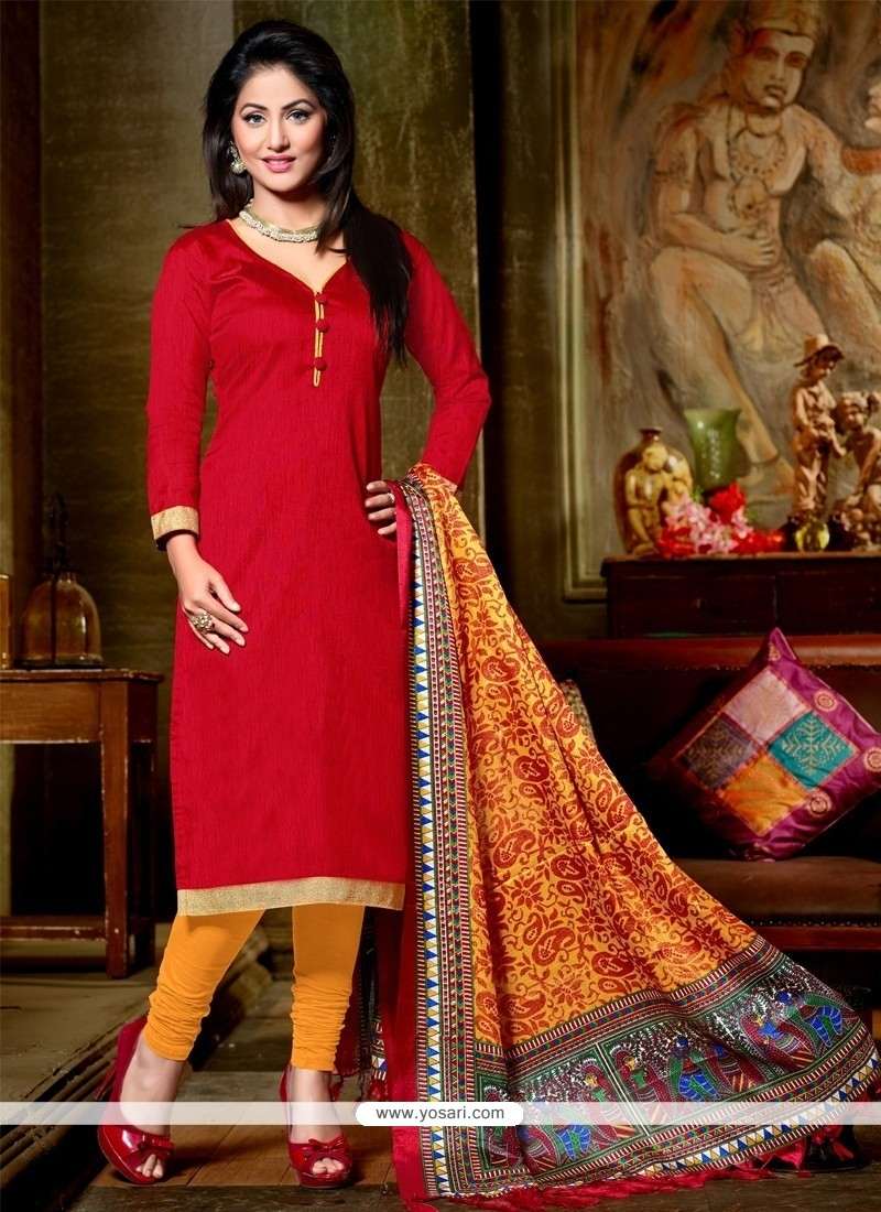Swanky Red Lace Work Banglori Silk Churidar Designer Suit