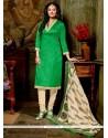 Girlish Green Lace Work Churidar Designer Suit