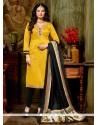 Charismatic Banglori Silk Yellow Churidar Designer Suit