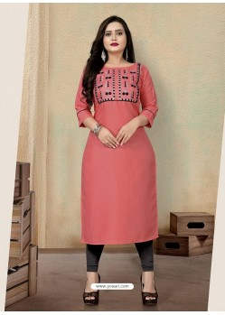 Light Red Designer Party Wear Readymade Kurti