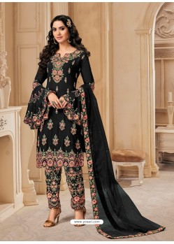 Black Bluming Georgette Designer Party Wear Wedding Suit