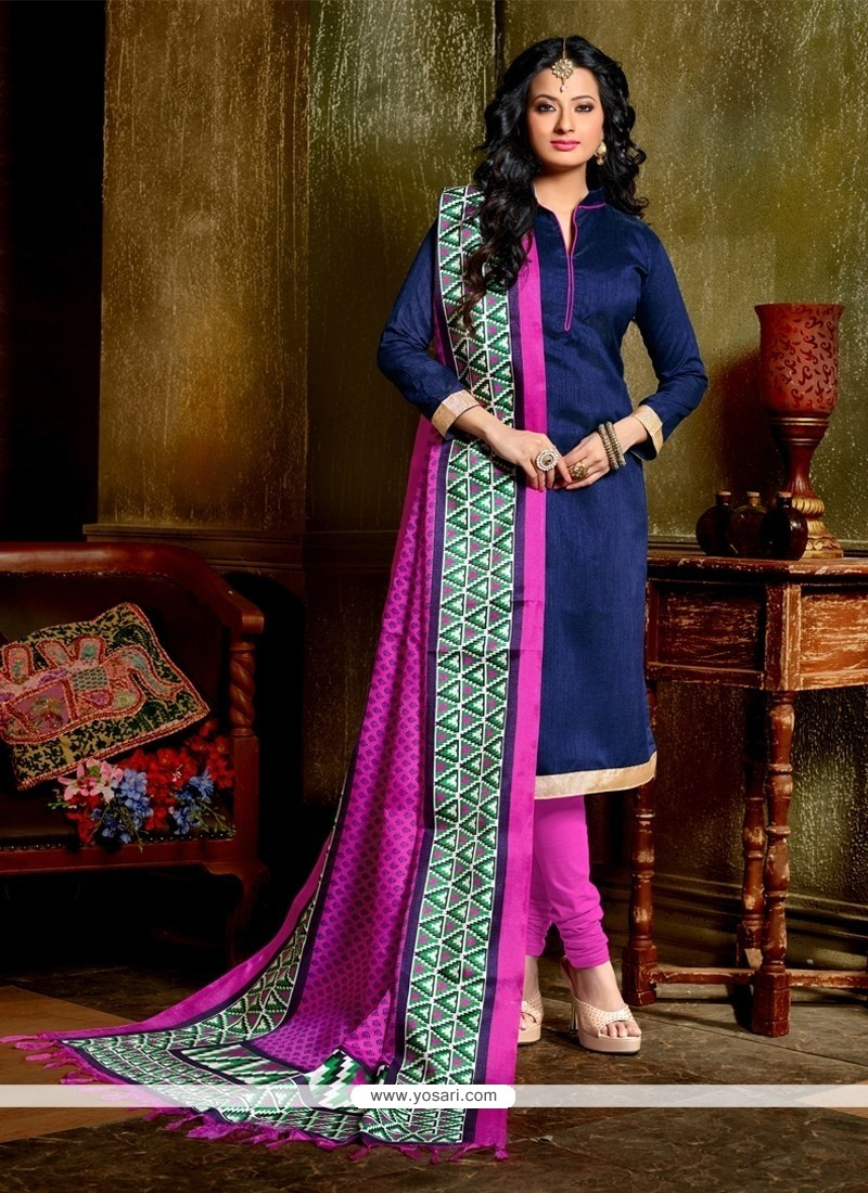Graceful Banglori Silk Blue Churidar Designer Suit