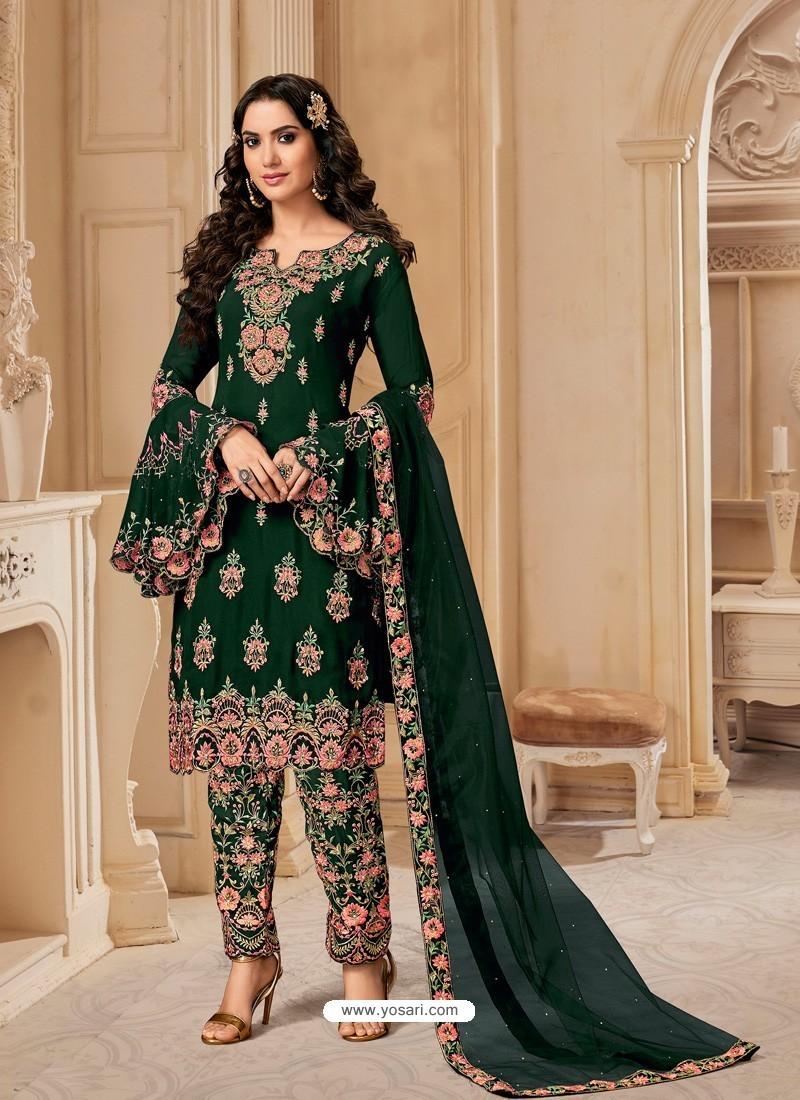 Dark Green Bluming Georgette Designer Party Wear Wedding Suit
