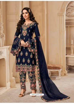 Navy Blue Bluming Georgette Designer Party Wear Wedding Suit