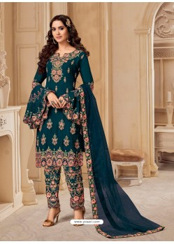 Teal Blue Bluming Georgette Designer Party Wear Wedding Suit