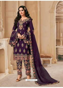 Purple Bluming Georgette Designer Party Wear Wedding Suit