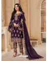 Purple Bluming Georgette Designer Party Wear Wedding Suit