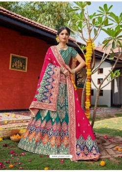 Teal Heavy Designer Wedding Wear Banarasi Silk Jacquard Lehenga Choli