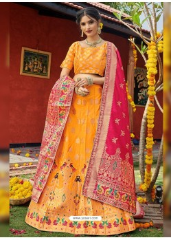 Yellow Heavy Designer Wedding Wear Banarasi Silk Jacquard Lehenga Choli