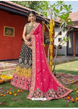 Multi Colour Heavy Designer Wedding Wear Banarasi Silk Jacquard Lehenga Choli