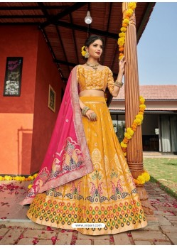 Mustard Heavy Designer Wedding Wear Banarasi Silk Jacquard Lehenga Choli