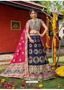 Dark Blue Heavy Designer Wedding Wear Banarasi Silk Jacquard Lehenga Choli