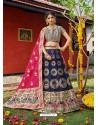 Dark Blue Heavy Designer Wedding Wear Banarasi Silk Jacquard Lehenga Choli