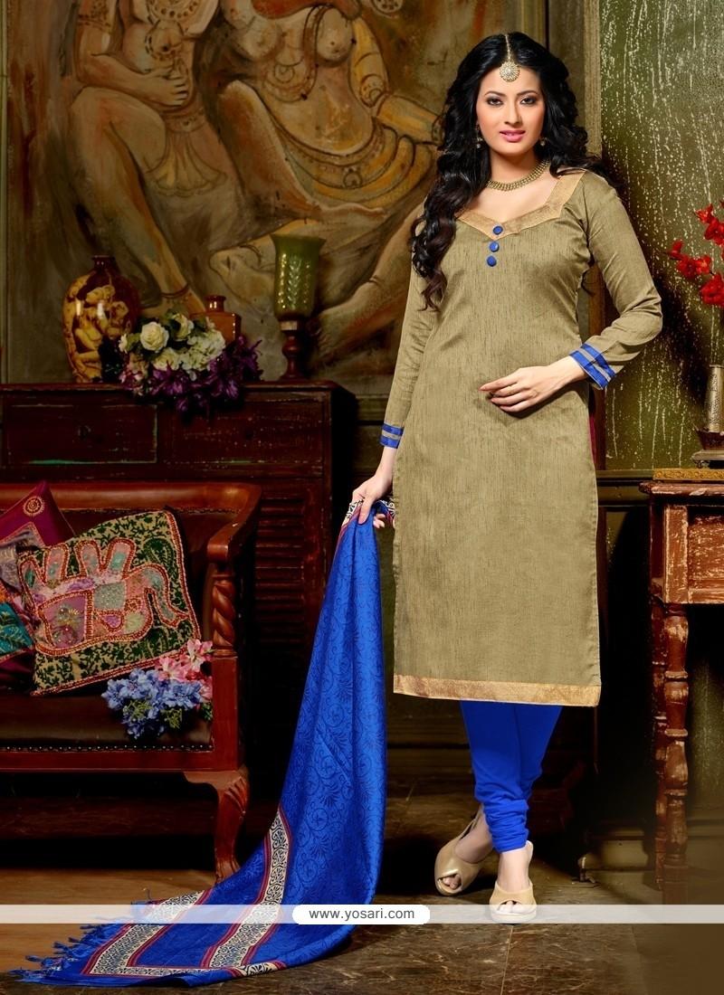 Flawless Lace Work Beige Banglori Silk Churidar Designer Suit