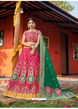 Rose Red Heavy Designer Wedding Wear Banarasi Silk Jacquard Lehenga Choli