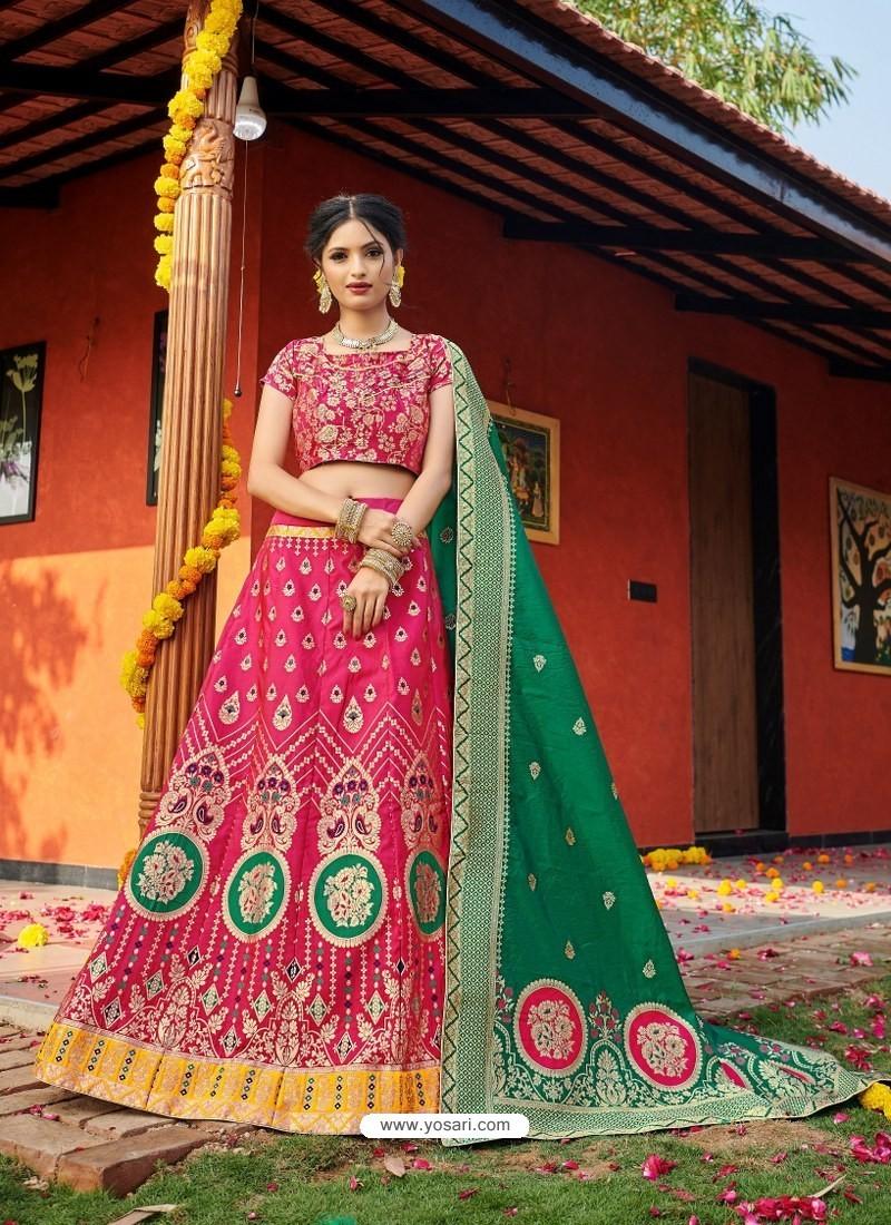 Rose Red Heavy Designer Wedding Wear Banarasi Silk Jacquard Lehenga Choli