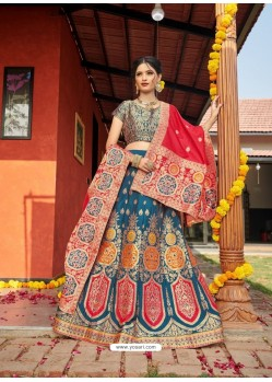 Teal Blue Heavy Designer Wedding Wear Banarasi Silk Jacquard Lehenga Choli
