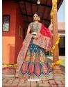 Teal Blue Heavy Designer Wedding Wear Banarasi Silk Jacquard Lehenga Choli