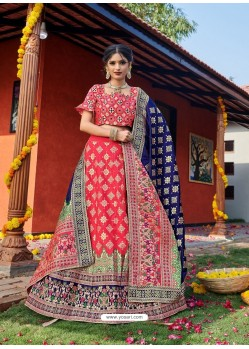 Dark Peach Heavy Designer Wedding Wear Banarasi Silk Jacquard Lehenga Choli