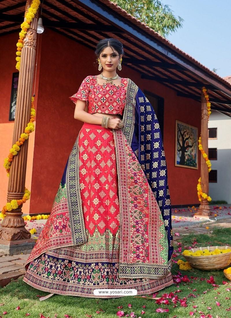 Dark Peach Heavy Designer Wedding Wear Banarasi Silk Jacquard Lehenga Choli