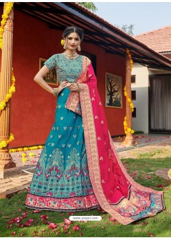 Blue Heavy Designer Wedding Wear Banarasi Silk Jacquard Lehenga Choli