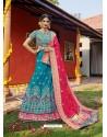 Blue Heavy Designer Wedding Wear Banarasi Silk Jacquard Lehenga Choli