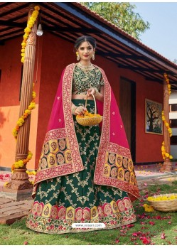 Dark Green Heavy Designer Wedding Wear Banarasi Silk Jacquard Lehenga Choli