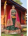 Dark Green Heavy Designer Wedding Wear Banarasi Silk Jacquard Lehenga Choli