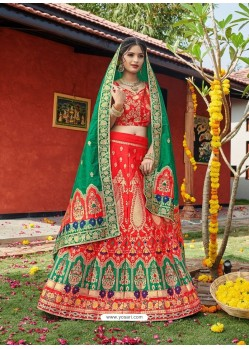 Red Heavy Designer Wedding Wear Banarasi Silk Jacquard Lehenga Choli