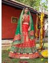 Red Heavy Designer Wedding Wear Banarasi Silk Jacquard Lehenga Choli