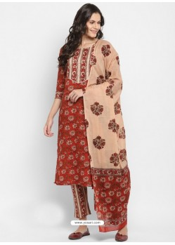 Red Readymade Party Wear Kurti Bottom With Dupatta