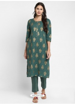 Teal Readymade Party Wear Kurti With Bottom